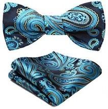 BIYINI Men's Paisley Floral Jacquard Woven Party Self Bow Tie Set Blue / Yellow - $24.12