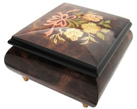 "Italian Music Box, 5"", Elm Wood with Ribbon Floral Inlay - $199.95"