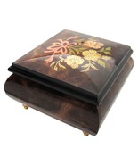 """Italian Music Box, 5"""", Elm Wood with Ribbon Floral Inlay - $199.95"""