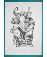 NUDE Dance Sculpture Group from New Opera in Paris - 1876 Antique Print - $13.49