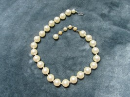 Vintage Costume Jewelry, Single Strand Faux Pearl Necklace, Choker NK215 - $12.69