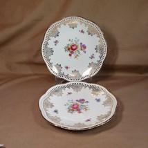 "Vintage Pair Schumann Arzberg 7 3/4"" Gold Rim & Scroll Plates, Floral Ce... - $14.95"