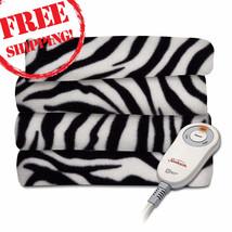 Fleece Heated Throw Blanket Zebra Stripes Black / Animal Lovers Warming ... - $39.59