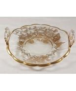 Viking Art Glass Janice Handled Lemon Plate with Silver City 22k Gold Fl... - $51.00