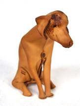 Deru Leather Dog Handmade Hound Sitting Origami Mid Century Modern 1960s - $249.47