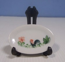 Vintage Chinese ceramic miniature plate hand painted rooster in garden m... - $12.22