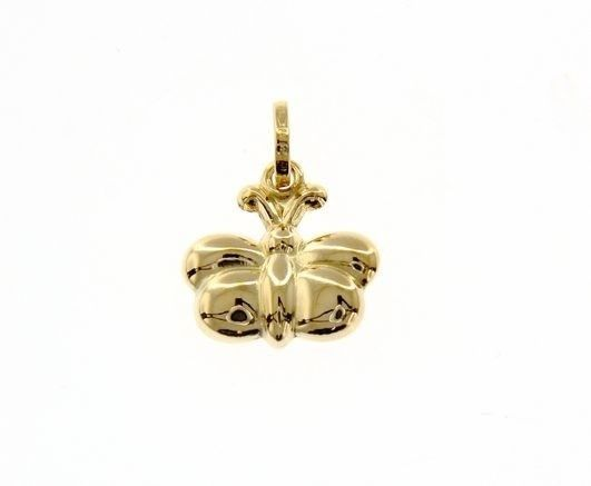 18K YELLOW GOLD ROUNDED BUTTERFLY PENDANT CHARM 18MM SMOOTH BRIGHT MADE IN ITALY