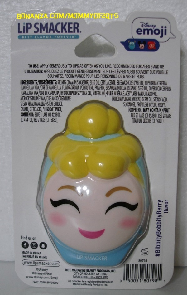 Cinderella Disney Emoji Lip Smacker Flip Balm Pot Bibbity Bobbity Berry 2 Sided