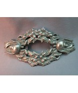 "Victorian Repousse Belt Buckle Silver Plate Large Flowers 5"" Across Nice... - $68.31"