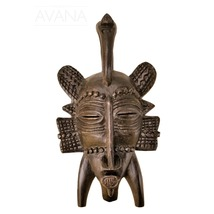 West African Vintage Tribal Ivory Coast Small Senufo Passport Mask with ... - $35.00