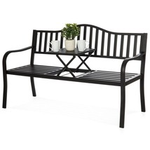 Outdoor Garden Bench Cast Iron Steel Frame Patio Designed Relaxation Ble... - $134.93