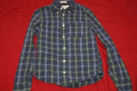 Abercrombie Little Boys Button Up Dress Shirt Sz M Green and Blue Plaid ... - $6.97