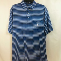 New Polo Ralph Lauren Mens Light Blue & White Striped Golf Shirt Size Large  - $39.59
