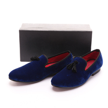 Handmade FERUCCI Men Blue Velvet Slippers loafers with  black Tassel Handmade - $149.99