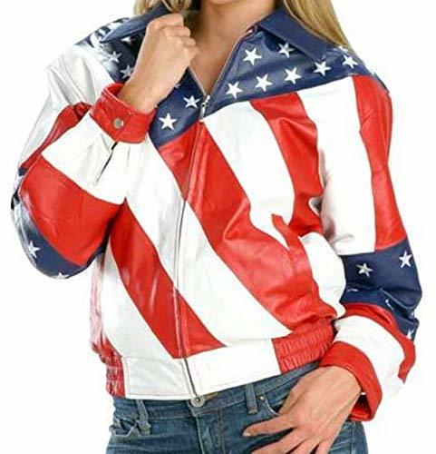 Womens Biker Style American Flag Bomber Motorcycle Leather Jacket