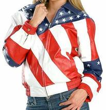Womens Biker Style American Flag Bomber Motorcycle Leather Jacket image 1