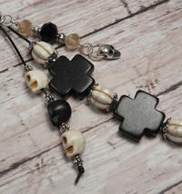 Skull Howlite Crystal Day of the Dead Beaded Keychain Purse Charm Black ... - $13.09