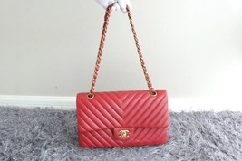 100% AUTH Chanel RARE Red Lambskin Chevron Quilted Medium Double Flap Bag GHW