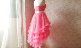 MELON RED Strapless Sweetheart Neck Hi-lo Tiered Tutu Skirt Bridesmaid Dress Cut image 5