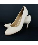 Antonio Melani Fallon Size 8 Classic Butter Beige Leather Pump Heel Shoes - $49.49