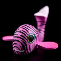 Handmade Oaxacan Copal Wood Carving Painted Folk Art Pink Whale Figurine image 6