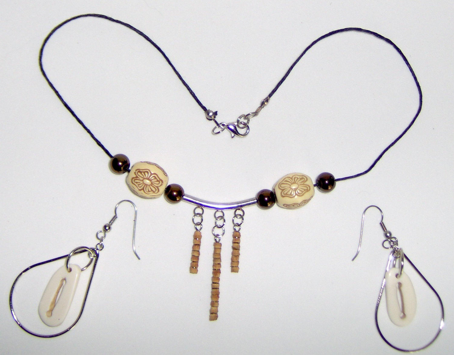 American Made!  Handcrafted Bone, Wood and Cork Necklace Set,2 Inch Dangles