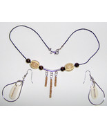 American Made!  Handcrafted Bone, Wood and Cork Necklace Set,2 Inch Dangles - $20.00