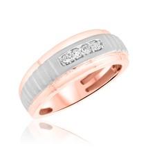 Men's 0.14 Cts Round Sim Diamond Four Stone Wedding Band Ring 14K Rose G... - $73.99