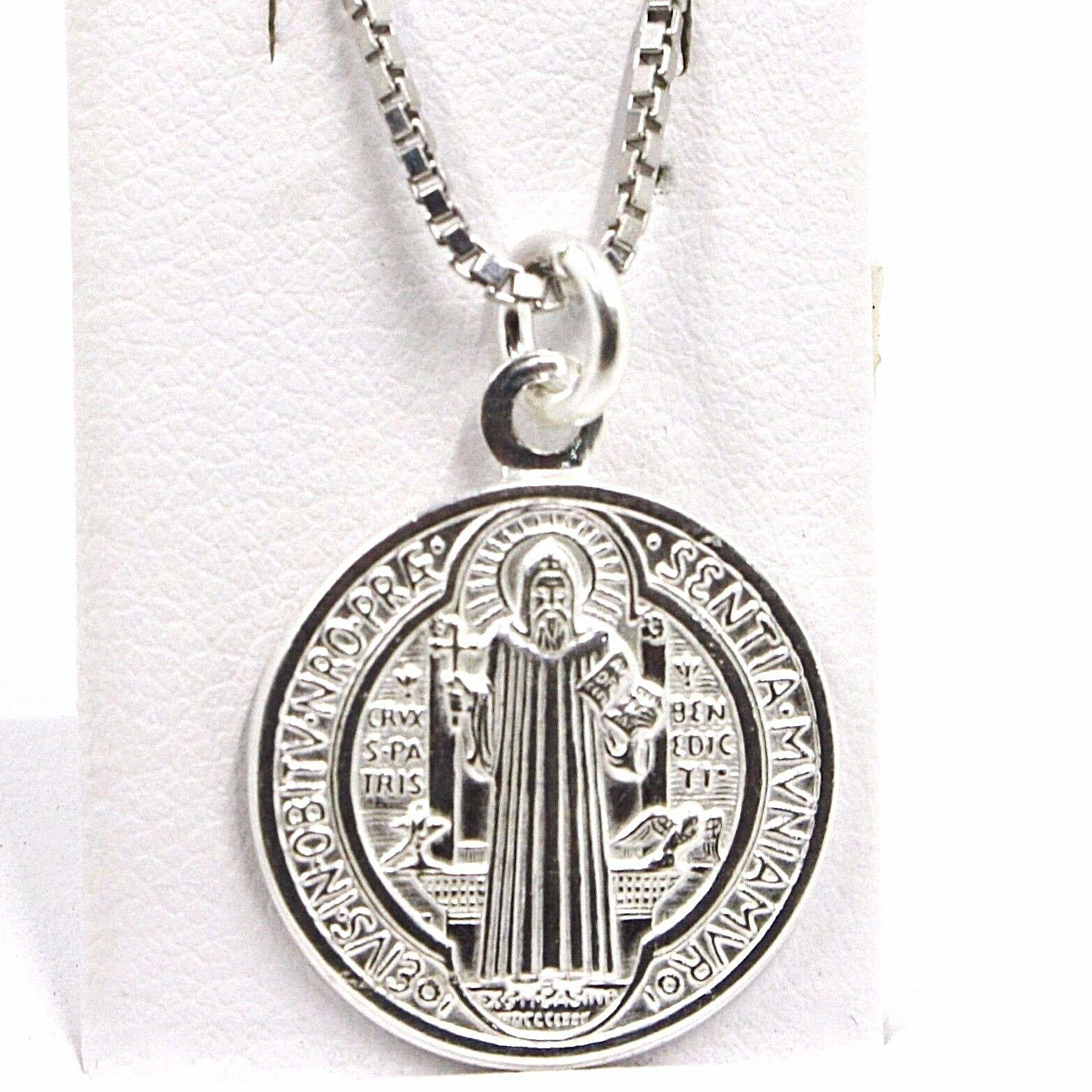 Cadena Veneciano 50 cm, Medalla St. Benedicto, Cruz, Plata 925 , Collar