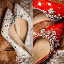 Ivory High Heels Crystals Wedding Shoes,Red Women Bridal Leather Heels S... - $88.00