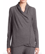 NWT Eileen Fisher French Terry Drape-Front Jacket, S, charcoal color - $110.72