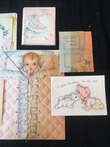 Set of 8 Vintage 40s illustrated Birth/Baby card art (Set B) image 4