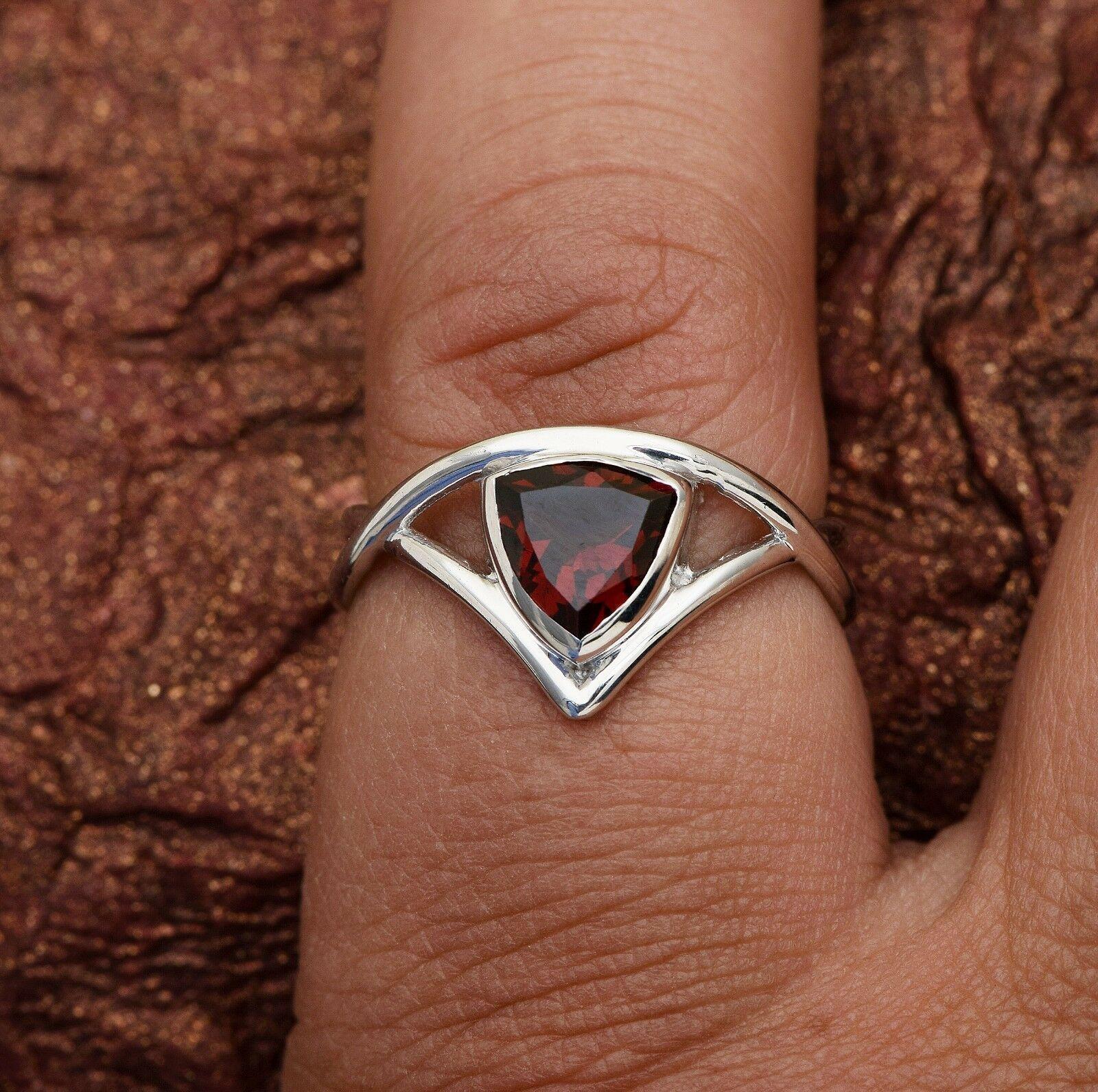 Trillion Cut Mozambique Garnet Single Stone 925 Silver Split Shank Women Ring