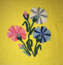 Vintage Cannon chenille bath towel yellow with tufted flowers bright colors - $8.00