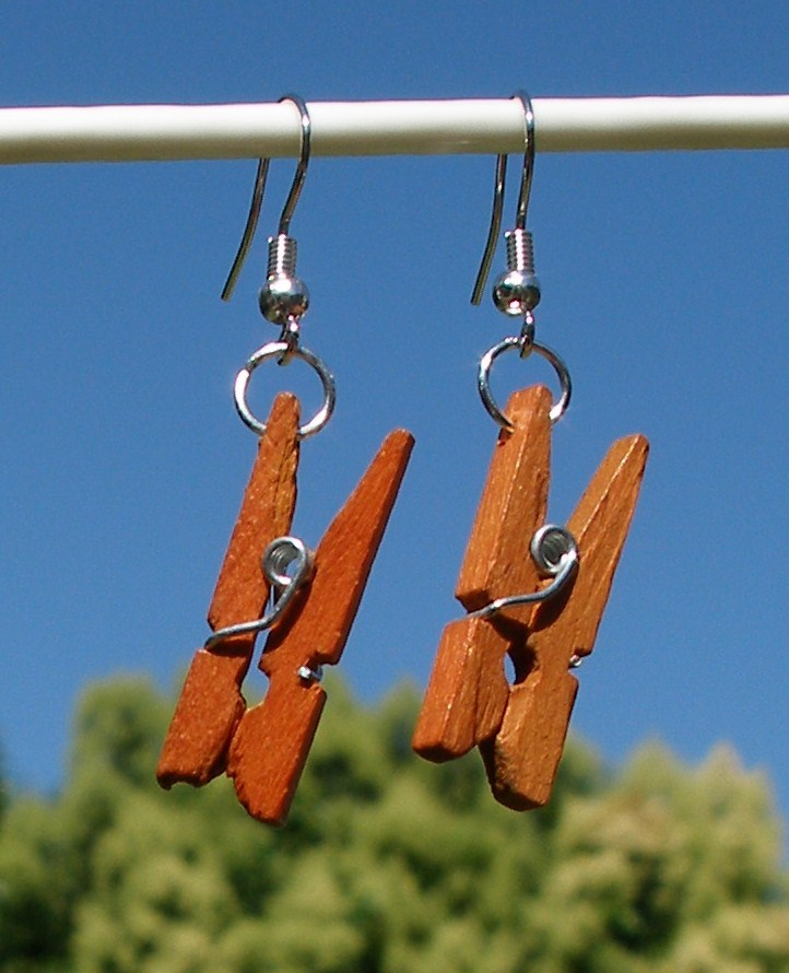 Primary image for New Modified Handcrafted Real Miniature Working Wooden Clothespin Earrings