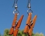 New Modified Handcrafted Real Miniature Working Wooden Clothespin Earrings