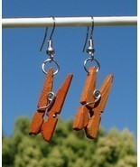 New Modified Handcrafted Real Miniature Working Wooden Clothespin Earrings  - $7.49