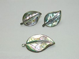 VTG Alpaca Mark & .925 Sterling Silver Abalone Leaf Earrings Pin Brooch Demi Set - $74.25