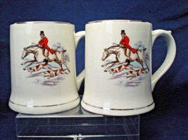 2 Vintage Wade Ireland Mugs Tankards Porcelain Fox Hunting Horse Rider Dogs - $27.70