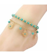 Gypsy Style Bohemian Turquoise Anklet Set - $18.00