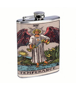 Tarot Cards D15 Flask 8oz Stainless Steel Hip Drinking XIV Temperance - $12.82