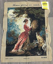 Huge Beautiful DMC Needlepoint Canvas Made In France Woman and Dog 33x25 inches - $54.45