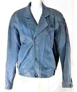 Casablanca Blue Leather Women's Jacket Retro Size Large 1980's - $26.72