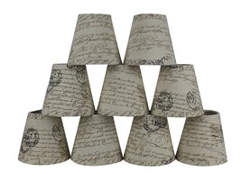 Urbanest Set of 9 Natural with Brown Script Pure Linen Chandelier Lamp S... - €42,90 EUR