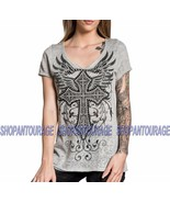 Affliction Brielle AW16491 New Short Sleeve Fashion Graphic V-neck Top f... - $48.11