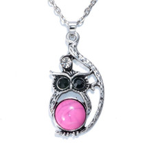 Pink Stone Belly Owl Necklace >> Combined Shipping << (7297) - $4.90