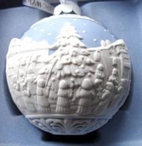 Wedgwood CAROL SINGERS Christmas Ball Ornament Blue/White Relief Porcela... - $29.99