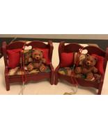 Vintage Christmas Sant Bear Set Chair  Ornament - $14.85