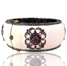 Gemstone Ruby 14k Gold Enamel Pave 4.13ct Diamond Bangle Bracelet Silver... - $1,930.50