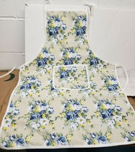 "Printed Cotton Kitchen Apron w/pocket, appr. 21""x28"",BLUE,YELLOW & WHITE... - $14.84"